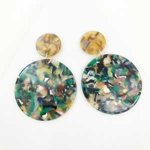 Circle Drop Earrings in Green with Camel Stud